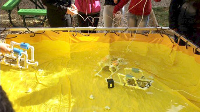 Underwater robots at work in Manchester's STEM Program.