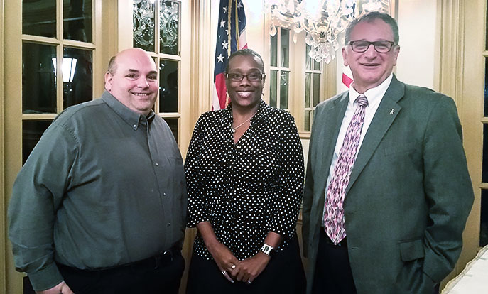 Monmouth  At the Feb. 4 meeting of the Monmouth County School Boards Association (MCSBA),  left to right,  Albert Miller, MCSBA president, and member, Howell board; Chanta Jackson, MCSBA vice president for legislation and member, Neptune Township board; and Mark Bonjavanni, NJSBA Board of Directors delegate for Monmouth and vice president, Howell board.