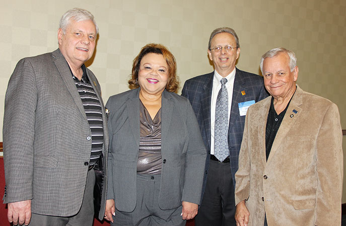 Left to right: Don Webster, NJSBA president; Lenora M. Green, executive director of the ETS Center for  Advocacy and Philanthropy; Dr. Lawrence S. Feinsod, NJSBA executive director;  John Bulina, NJSBA immediate past president