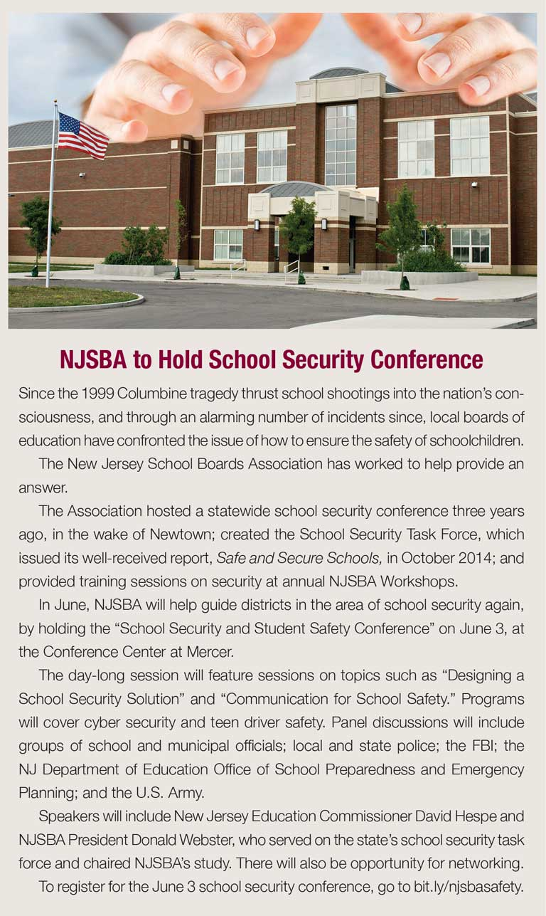Sidebar featuring information about NJSBA's School Security and Student Safety Conference on June 3, 2016.