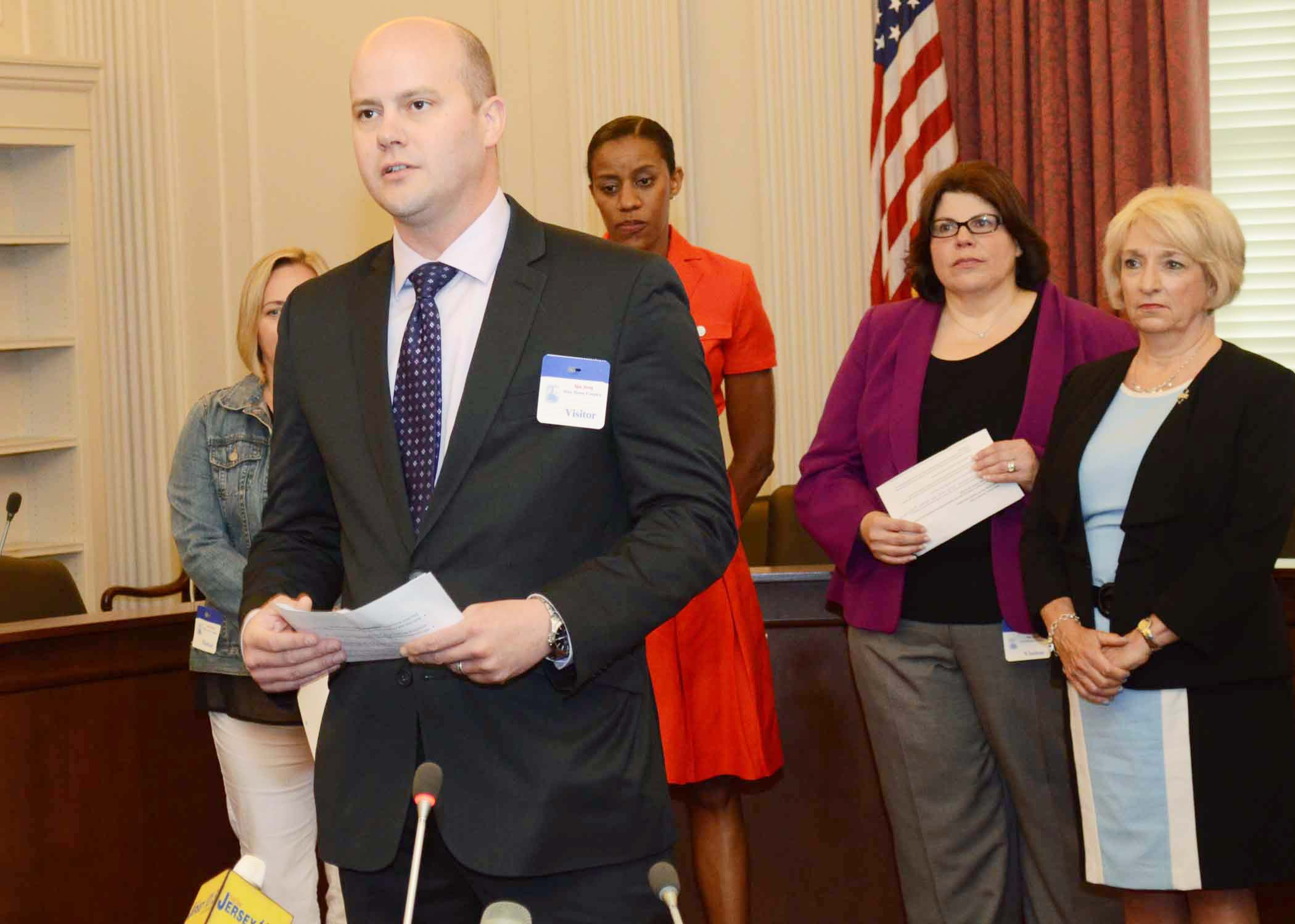 Jonathan Pushman, NJSBA legislative advocate, spoke at a press conference held by Assemblyman Troy Singleton to promote A-3798, a bill that would authorize the use of school bus monitoring systems to catch motorists who illegally pass school buses when the flashing light and crossing control arm of a school bus are activated.