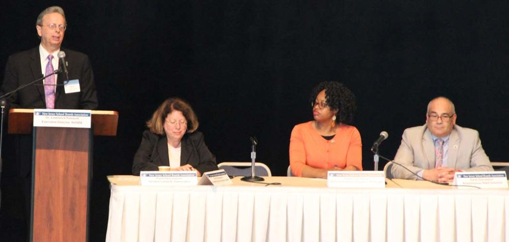 Left to right: Dr. Lawrence S. Feinsod, NJSBA executive director, Sen. Linda Greenstein, Assemblywoman Angela McKnight; and Assemblyman Reed Gusciora