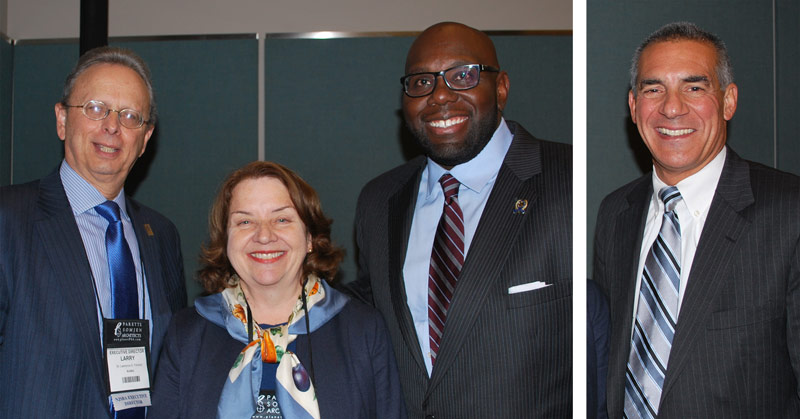 Dr. Lawrence S. Feinsod, NJSBA executive director; Betsy Ginsburg, Garden State Coalition of Schools executive director; and Assemblyman Troy Singleton, at the Legislative Update. Assemblyman Jack Ciattarelli, pictured at right, also served on the panel of legislators.