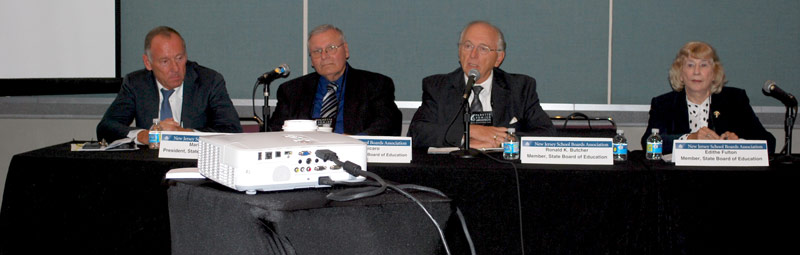 Members of the New Jersey State Board of Education, left to right: Mark Biedron, president; Joe Fisicaro, vice president; Ron Butcher, and Edithe Fulton.
