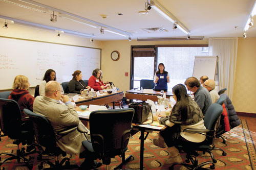 Sheli Dansky leads a small-group exercise at the weekend New Board Member Orientation program.