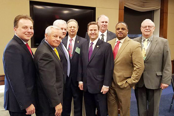 "U.S. Rep. Donald Norcross (Dist. 1) hosted a congressional breakfast for school board members, and NJSBA officers and staff, on the ""Day on the Hill"" in Washington DC. Norcross has just been appointed to the Education and Workforce Committee. Pictured, left to right, are National School Boards Association President-Elect Kevin Ciak, of Sayreville; NJSBA Immediate Past President John Bulina; NJSBA President Donald Webster Jr., (partially hidden); NJSBA Executive Director, Dr. Lawrence S. Feinsod; U.S. Rep Norcross; NJSBA Vice President for County Activities, Daniel T. Sinclair; NJSBA Vice President for Legislation/Resolutions, Jason A. Jones; NJSBA Vice President for Finance, Michael R. McClure."