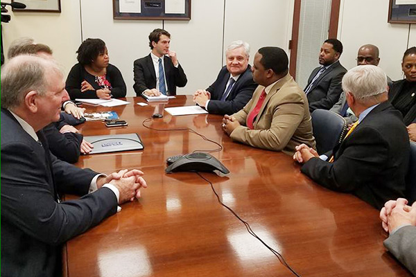 NJSBA State Officers and school board members met with staff of U.S. Senators Cory Booker and Robert Menendez to discuss federal issues pertaining to funding. This conversation focused on the lack of federal funding from the Individuals with Disabilities Education Act (IDEA) and Title 1 funds. New Jersey is known for having exceptional special needs programs, but IDEA is not fully funded. NJ is receiving approximately only 16% of the 40% it should be receiving.