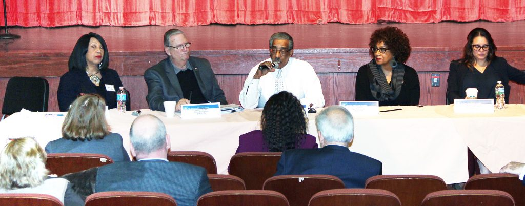 On Feb. 22, in a program coordinated by the Essex County School Boards Association, school board members met with state legislators for a far-ranging discussion on school funding. Assemblywoman Sheila Oliver requested that NJSBA coordinate the meeting, on behalf of the lawmakers. Legislators on the panel included, left to right, Oliver; Assemblyman Ralph Caputo; Senator Ronald Rice; Senator Nia Gill; and Assemblywoman Eliana Pintor Marin.