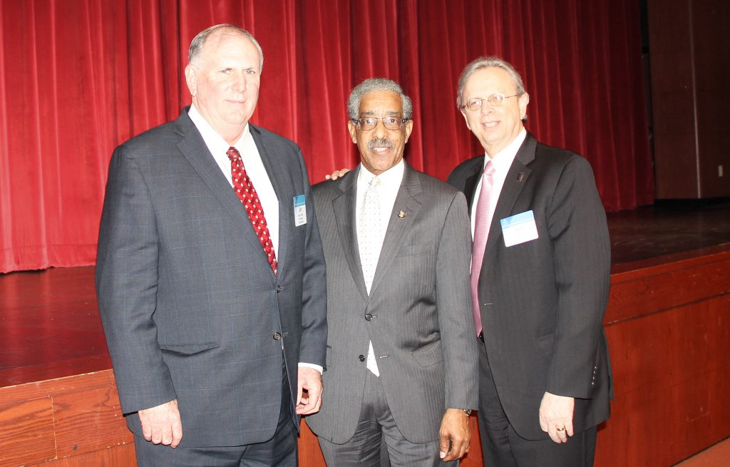 At the Essex County meeting, left to right: Dan Sinclair, NJSBA vice president for county activities; Sen. Ronald Rice; and Dr. Lawrence S. Feinsod, NJSBA executive director.