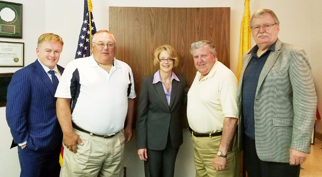 Sen. Anthony Bucco worked closely with the NJSBA, frequently attending meetings and discussing issues with school board members. Here, in August 2017, he meets with (left to right): Christopher Jones, NJSBA legislative advocate; Mike Scarneo, of the Dover board; Karen Cortellino, M.D., who was then Morris County School Boards Association president and is currently NJSBA vice president for legislation/resolutions; Sen. Bucco (Dist. 25); and Mike Bertram, Morris Hills Regional board.