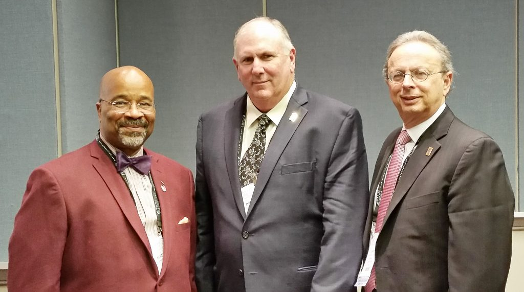 (l-r) Bridgeton Mayor Albert Kelly, NJLM president; Dan Sinclair, NJSBA president; and Dr. Lawrence S. Feinsod, NJSBA executive director, after the panel discussion at Workshop 2017.