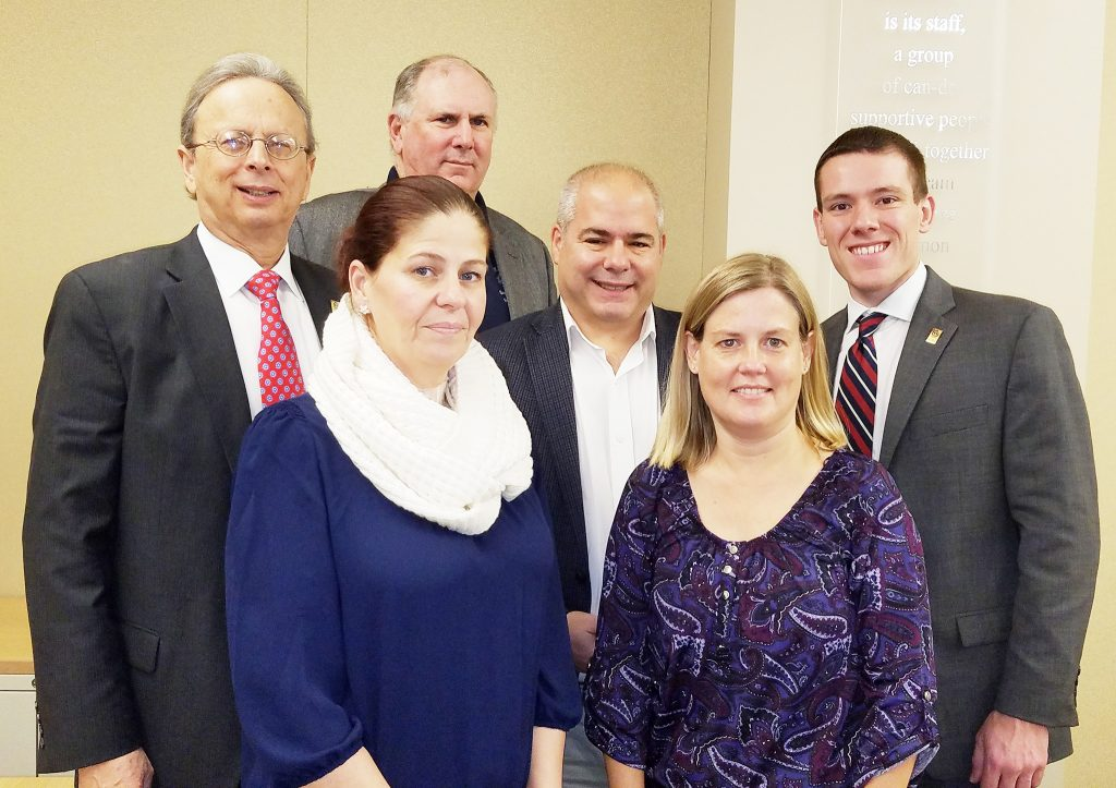 Three new Legislative Committee members were introduced at the meeting. Left to right, front row: Melissa Mohr, Henry Hudson Regional board; and Alison Cogan, Parsippany Troy Hills board. Left to right back row, Dr. Lawrence S. Feinsod, NJSBA executive director; David Sarnoff, Fort Lee board; and Dan Sinclair, NJSBA president.