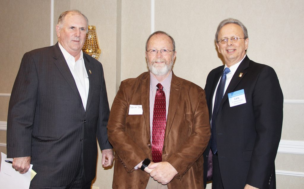 At the Nov. 29 meeting of the Bergen County School Boards Association, (L-R), Dan Sinclair, NJSBA president; Bruce Young, Bergen County association president and N.J. Board Member of the Year ; and Dr. Lawrence S. Feinsod, NJSBA executive director.