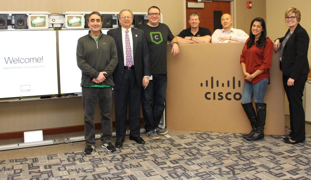 Pictured during the installation, at NJSBA headquarters, are (l-r) Patrick McGinley, Cisco account executive; Dr. Feinsod; Cisco video conferencing team members Jerry Gavin, Patrick McGlinchey, Michael Lin and Catalina Kowal Cacandel; and Patrice Maillet, NJSBA director of business services.