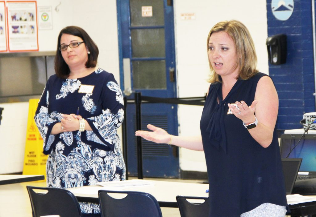 School board members Jennifer Cavarallo, of Kingsway Regional (at left) and Amy Jablonski, of Chesterfield, presented at the session on school funding advocacy. Also taking part were NJSBA Governmental Relations Director Michael Vrancik and NJSBA Director of Member Engagement Ray Pinney.