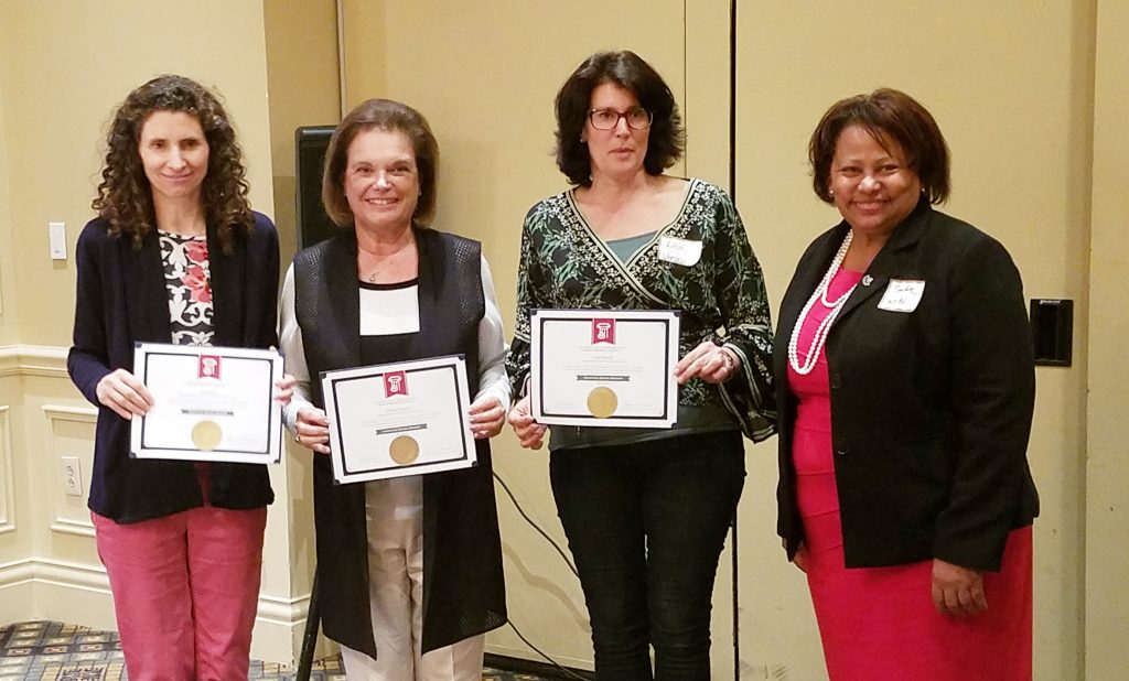 The Essex County School Boards Association recognized three certified board members at a recent meeting. Pictured (l-r) are Ann Fahey, West Essex; Ronnie Konner, Livingston; Lisa Freschi, Verona; and Sandra Mordecai, Essex County School Boards Association president.