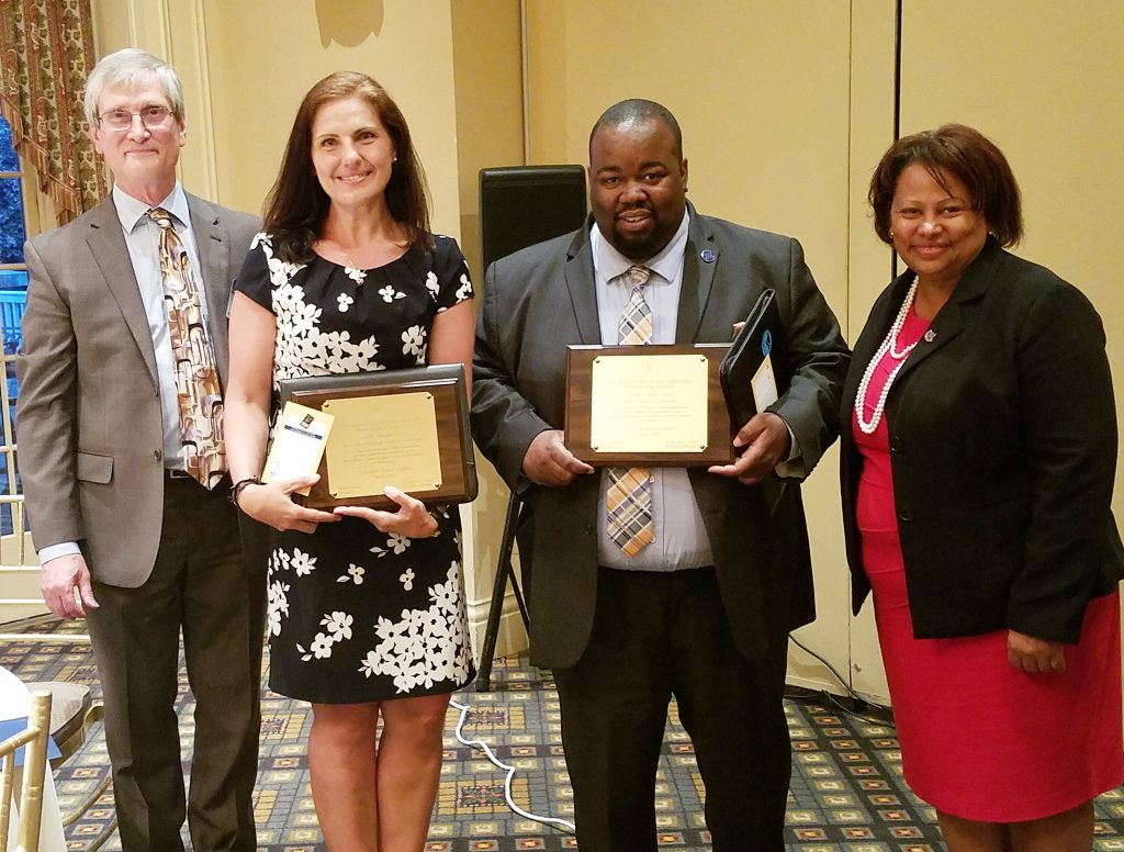 The Essex County School Boards Association recognized two board members who achieved the designation Certified Board Leader. Pictured (l-r) are Ray Pinney, NJSBA director of member engagement; Certified Board Leaders Judith Amorim Dias, of West Essex; and Marques-Aquil Lewis, a former Newark board member, who achieved certification before leaving the board; and Sandra Mordecai, Essex County School Boards Association president.