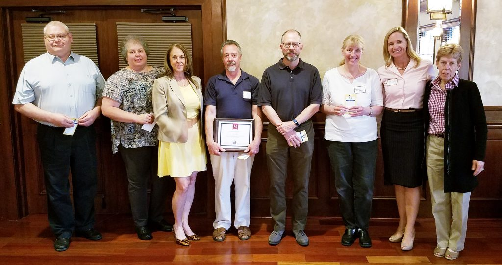 The Hunterdon County School Boards Association presented milestone awards at a recent meeting, recognizing members for their years of service to local school boards. Pictured (l-r) are Kevin Bloom, 15 years, Kingwood; Nicole Claus, 15 years, South Hunterdon Regional; Theresa Kane, 15 years, Milford; Francis Goger, 20 years, North Hunterdon-Voorhees; Dan Seiter, 10 years, South Hunterdon; Laurie Markowski, 15 years, Flemington Raritan; Christy Tighe, NJSBA vice president for county activities; and Gwen Thornton, NJSBA field services representative.