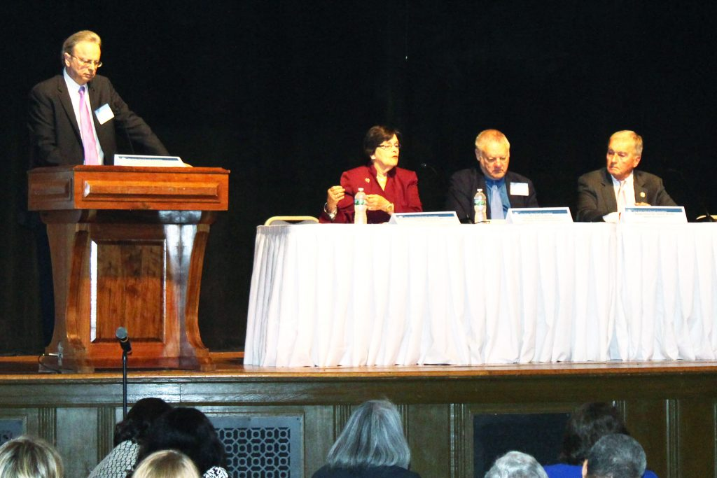 The morning's Legislative Panel included, left to right, Dr. Lawrence S. Feinsod, NJSBA executive director (at podium); Assemblywoman Patricia Egan Jones; Mike Vrancik, NJSBA director of governmental relations; and Assemblyman David Wolfe.