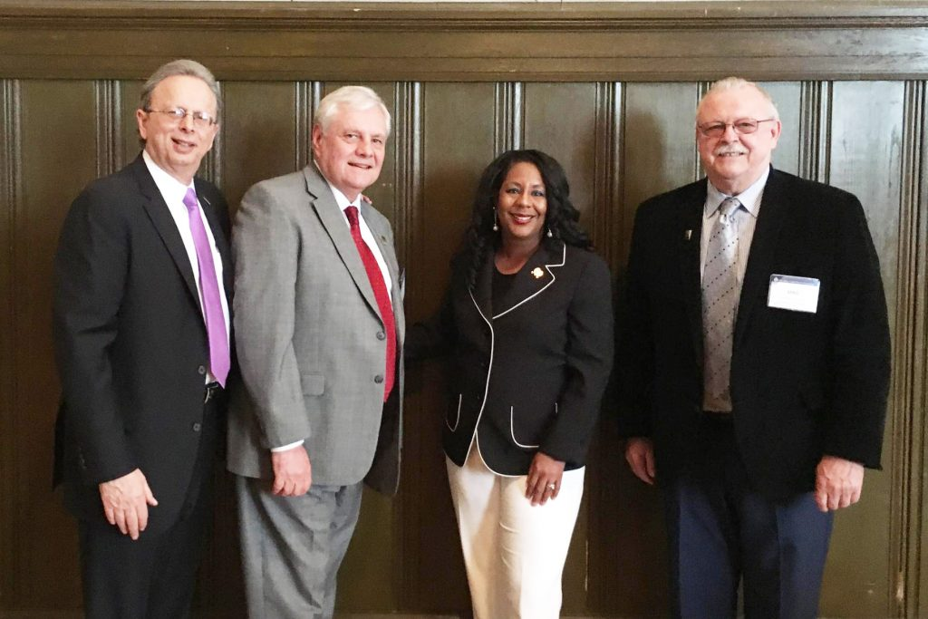 Left to right: Dr. Lawrence S. Feinsod, NJSBA executive director; Don Webster Jr., NJSBA immediate past president; Assemblywoman Verlina Reynolds-Jackson; and Michael McClure, NJSBA vice president for finance.