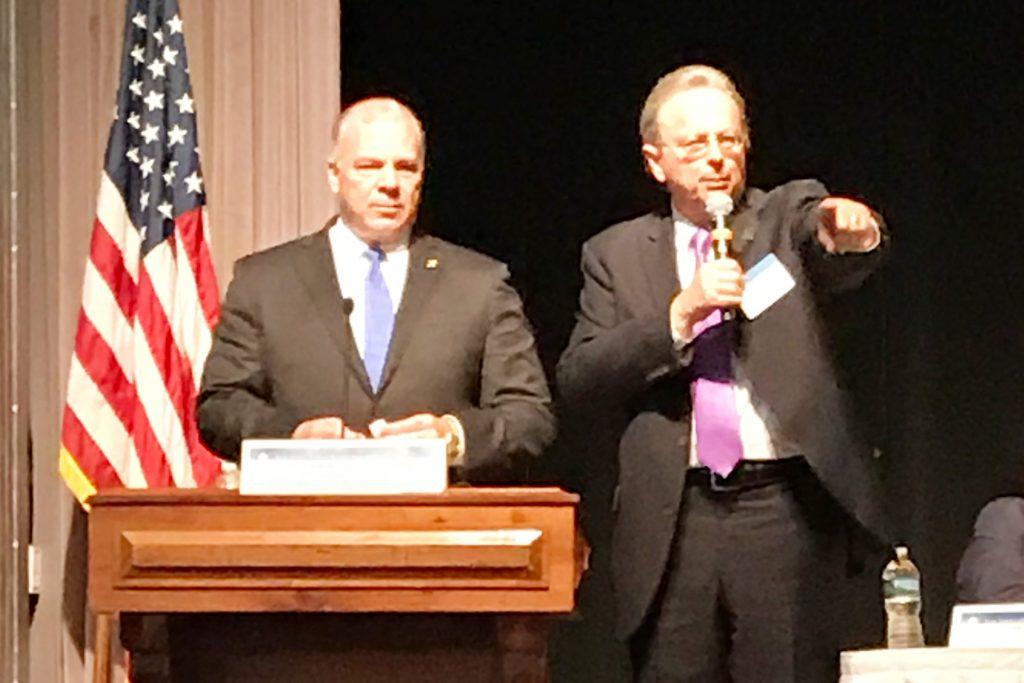 Senate President Steve Sweeney (left) and Dr. Lawrence S. Feinsod, NJSBA executive director