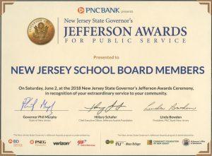 Jefferson Award certificate