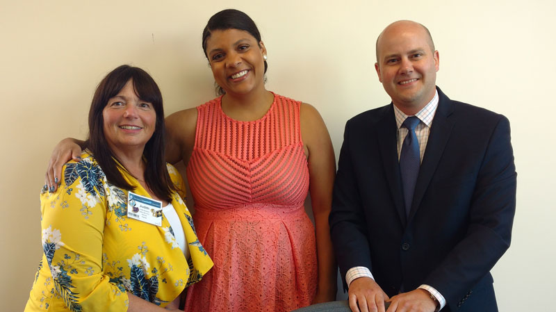 Left to right: Judith Bassford, Clifton Board of Education, and Passaic County School Boards Association president; Assemblywoman Britnee N. Timberlake (Legislative District 34), Assembly Education Committee member; and Jonathan Pushman, NJSBA legislative advocate.