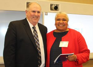 Dan Sinclair, NJSBA president, at left in photo, and Elizabeth Martin, of the Hunterdon County Vocational Board of Education. At the Nov. 2 meeting of the NJSBA Board of Directors, Martin was sworn in as a member the state's vocational boards of education.