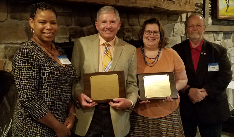 Raymond Morris, of the Newton board and Sarah Zydon of the Franklin Boro board were honored recently for having earned the Master Board Member designation from NJSBA's Board Member Academy. Pictured here, left to right are Tammeisha Smith, NJSBA vice president for finance; Raymond Morris; Sarah Zydon; and Bruce Young, NJSBA vice president for county activities.