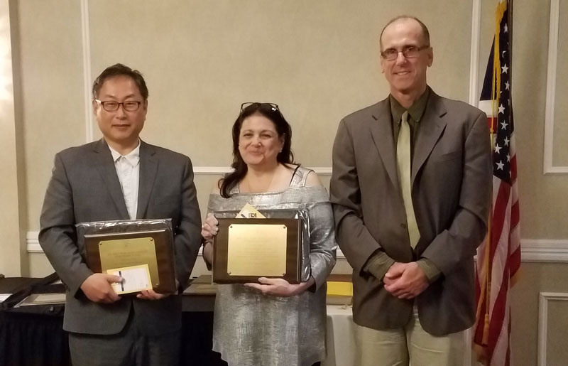 Gyuchang Sim, of the River Edge board (at left), and Holly Morell, of the Fort Lee board (center) were Gyuchang Sim, of the River Edge board (at left), and Holly Morell, of the Fort Lee board (center) were honored at a recent meeting of the Bergen County School Boards Association (BCSBA) for having earned the Certified Board Leader designation from NJSBA's Board Member Academy. At right is Jim Gaffney, BCSBA president.