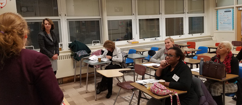 NJSBA counsel Kathleen Asher (foreground) and field services representative Charlene Peterson conduct a governance training session as part of the Jan. 16 Foundations for Success program held at Dover High School.