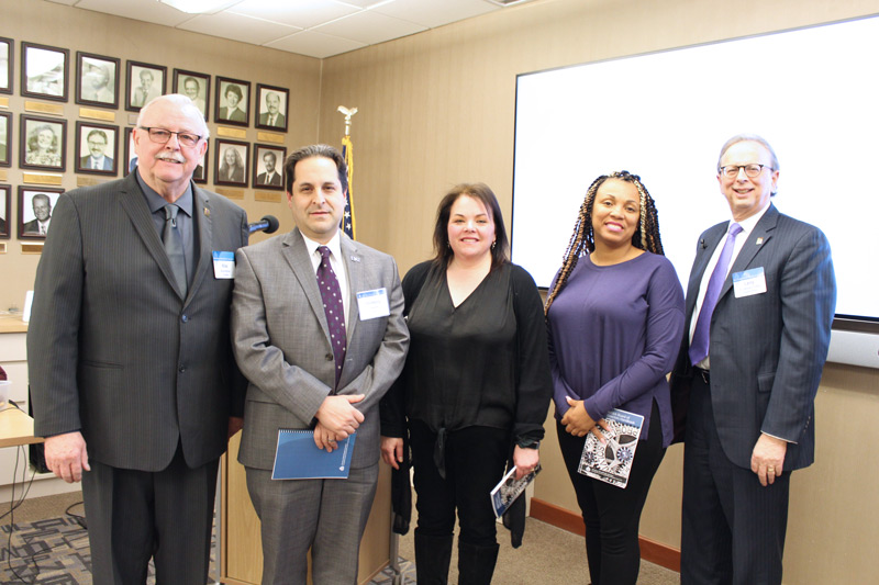 At the Jan. 17 meeting of the NJSBA Board of Directors, three new members were sworn in. Left to right in photo, Mike McClure, NJSBA president; Jon-Henry Barr, Union County Vocational Board of Education and new alternate representing county vocational boards; Dana Krug, West Windsor-Plainsboro Board of Education, and new member representing Mercer County; Sheila Etienne, Asbury Park Board of Education, and new alternate member representing the Urban Boards Committee; and Dr. Lawrence S. Feinsod, NJSBA executive director.