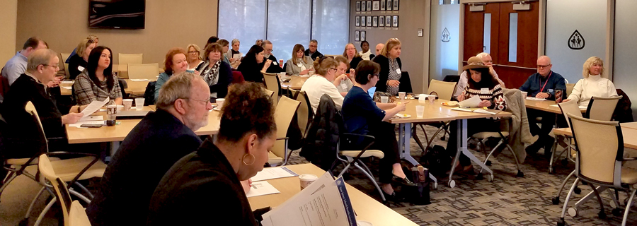 Bruce Young, NJSBA vice-president for county activities and Tammy Smith, the Association's vice president for finance, met with county association leaders at NJSBA headquarters on Feb. 22.