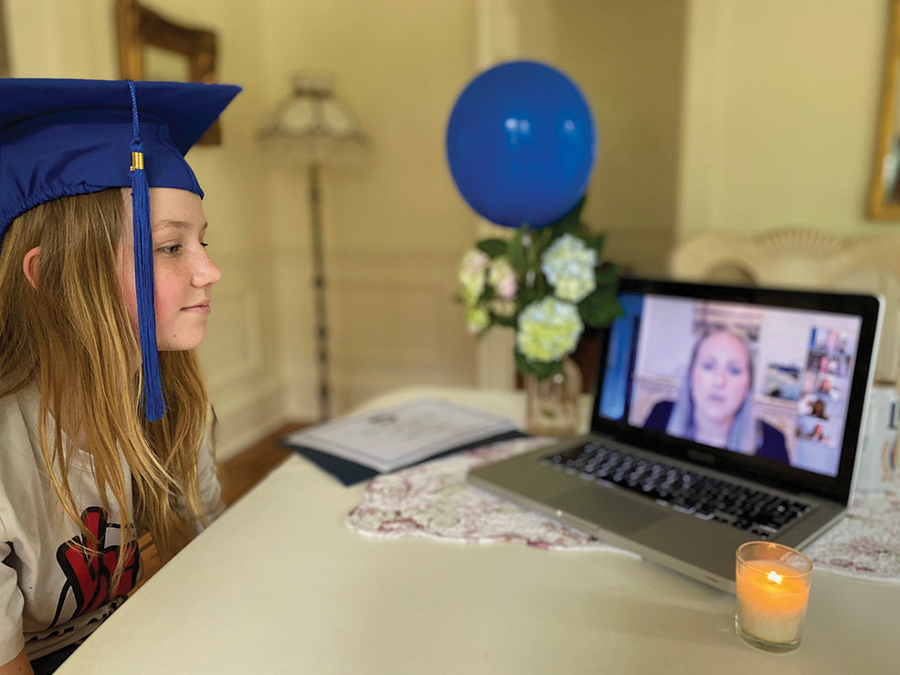 A Virtual Graduation for Fifth Graders Students in Haddonfield got into the spirit of graduation ceremonies with balloons and graduation caps.