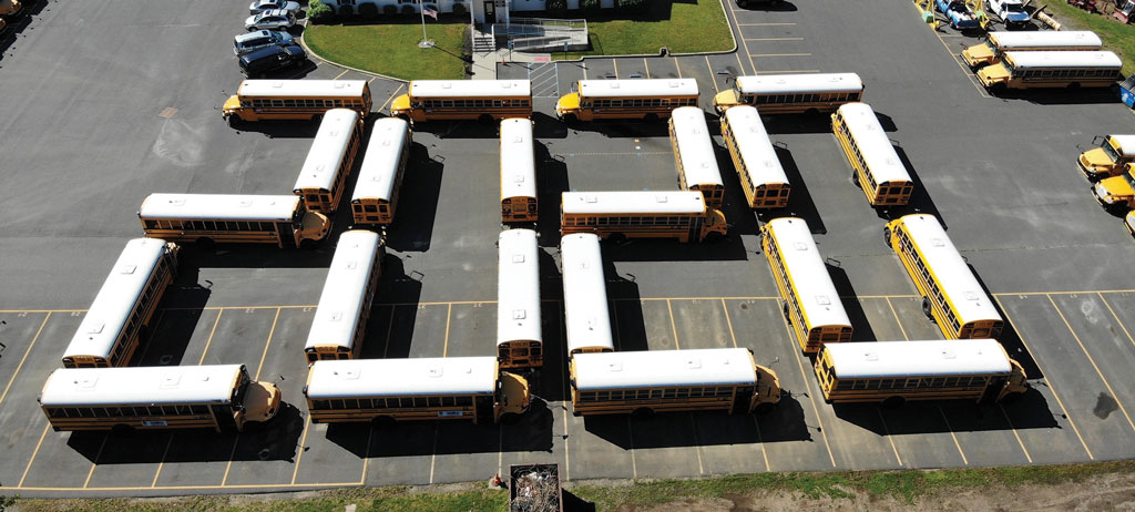 Marlboro Township Spelled it Out From the ground, the arrangement of school buses in the Marlboro Township school district no doubt looked a bit haphazard. But a bird's eye view —courtesy of a drone camera — revealed the image that commemorated the unique circumstances of this school year — 2020.