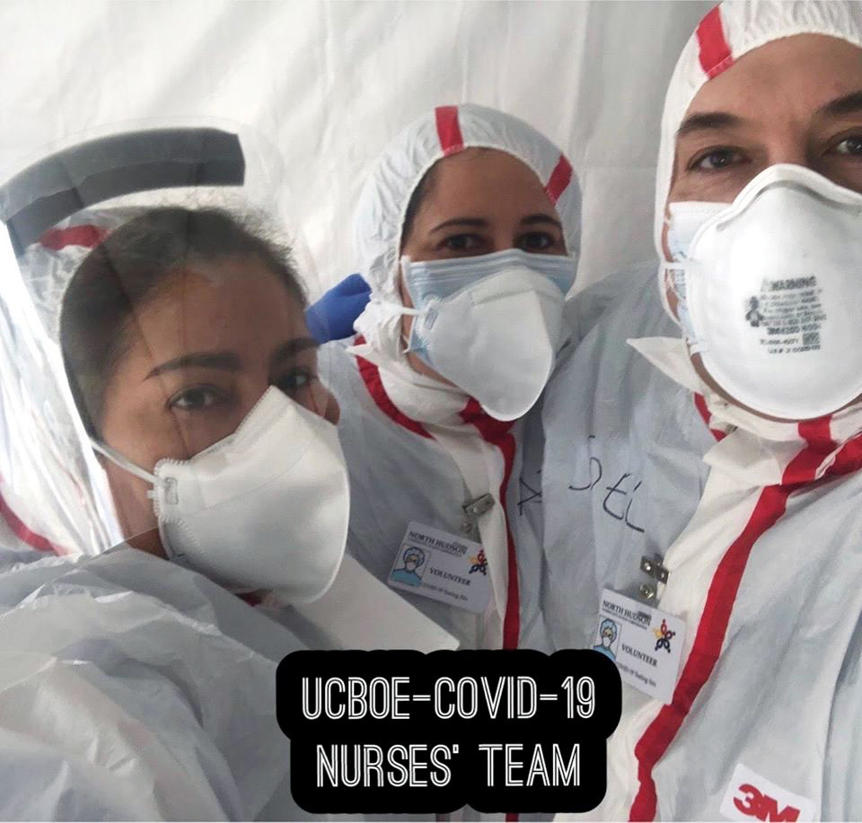 Union City's COVID-19 Nurses Team School nurses in several New Jersey districts volunteered in their communities, including the Union City school nurses here, who volunteered with first responders. Left to right: Zulma Solis, of the Union Hill Middle School; Adis Oliva Torres from Thomas A. Edison Elementary School; and Joel Roca Ortiz, from the Academy for Career and Community Empowerment.